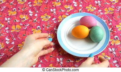 różowy, eggs., barwny, do góry, ona, kopać, tablecloth, ...