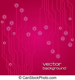 różowy, elementy, abstrakcyjny, microchip., tło, techniczny