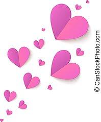 różowy, fałdowy, papier, wektor, serca, cutout