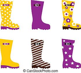 różowy, fason, &, -, wellington buciki, odizolowany, żółty, biały