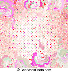 różowy, flower., polka, eps, tło, 8, kropka