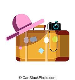różowy, fotografia, odizolowany, aparat fotograficzny, walizka, biały kapelusz