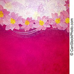 różowy, grunge, barwny, żółty, kaprys, tło, fiołek, magenta, kwiaty