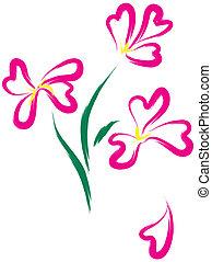 różowy, heart-form, kwiaty, nieruchome-życie