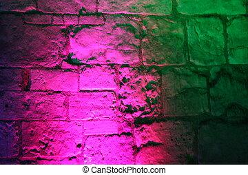 różowy, i, zielony, średniowieczny, floodlit, wall.