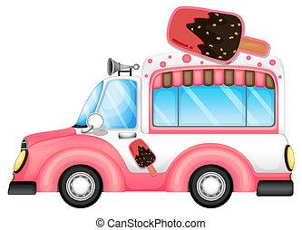 różowy, icecream, sprzedajcie, wóz