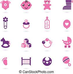 różowy, ikony, odizolowany, zbiór, wektor, dziewczyna niemowlęcia, biały