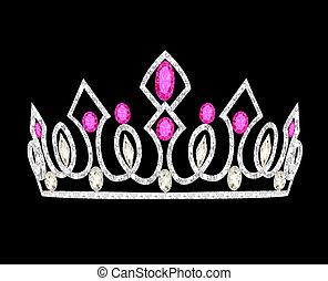 różowy, kamienie, korona, damski, ślub, tiara