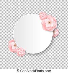 różowy, kartka pocztowa, kwiaty, przeźroczysty, tło