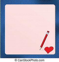 różowy, kartka pocztowa, z, czerwone serce, na, blu