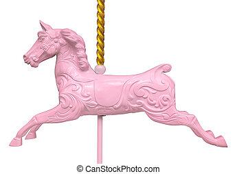 różowy, koń, odizolowany, carousel