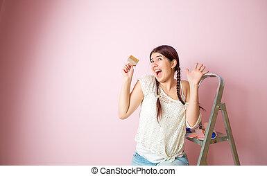 różowy, kobieta, fotografia, przeciw, następny, radosny, drabina składana, szczotka, czysty, wall., wałek