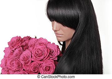 różowy, kobieta, hairstyle., róże, bukiet, skraj, odizolowany, kudły, tło., brunetka, dzierżawa, biały, style.