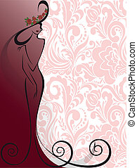 różowy, kobieta, kwiaty