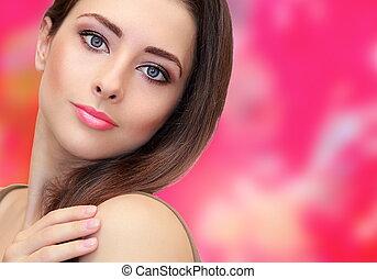 różowy, kobieta, piękno, makijaż, patrząc, jasny, spokój, tło