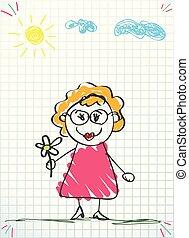 różowy, kobieta, stary, ilustracja, ręka, wektor, kwiat, dzierżawa, strój, rysunek, okulary
