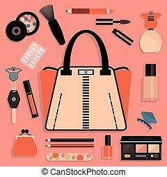 różowy, kobiety, portmonetka, i, kosmetyki