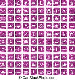 różowy, komplet, grunge, ikony, 100, jazda konna