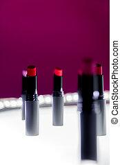 różowy, komplet, kasownik, szminka, barwny, beauty., makijaż, kamień, zatracony, tło., kolor, fason, lipsticks., profesjonalny, biały, bokeh, czerwony