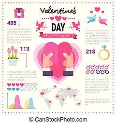 różowy, komplet, miłość, infographic, ikony, na, space., valentine, tło, pojęcie, szablon, kopia, chorągiew, dzień, elementy