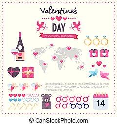 różowy, komplet, szablon, ikony, na, list miłosny, infographic, tło, chorągiew, dzień