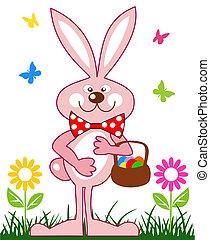 różowy, królik, z, kosz pisanek