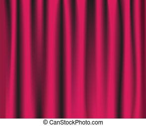 różowy, kurtyna, teatr