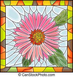różowy kwiat, aster., mozaika