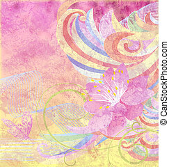 różowy kwiat, grunge, abstrakcyjny, krzywe, papier, żółte tło