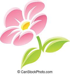 różowy kwiat, ikona