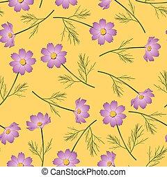 różowy, kwiat kosmei, tło, żółty