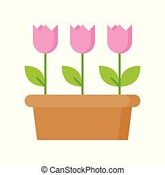 różowy kwiat, odizolowany, ilustracja, tulipan, wektor, tło, biały, ikona