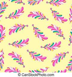 różowy kwiat, próbka, abstrakcyjny, seamless, żółty, płatki, wektor, tło