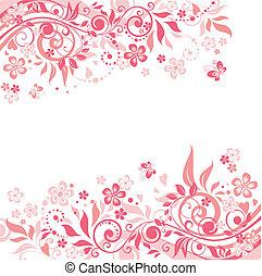 różowy, kwiatowy, tło