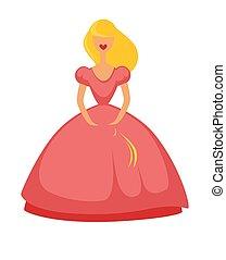 różowy, lalka, odizolowany, ilustracja, wektor, długi, biały strój