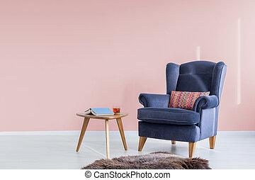 różowy, lekki, pokój, fotel