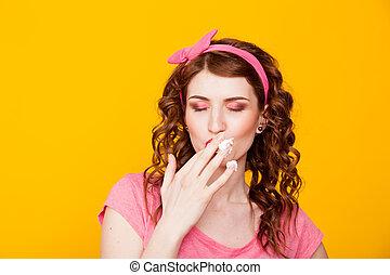 różowy, liźnięcia, jedzenie, palce, pinup-style, dziewczyna, strój, śmietanka