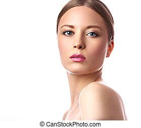 różowy, lipstick., kobieta, hairstyle., piękno, makijaż, odizolowany, jasny, closeup, blond, portret