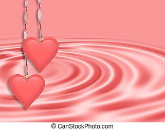 różowy, list miłosny, słyszeć, dzień, tło