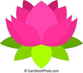 różowy, lotosowy kwiat, odizolowany, ikona
