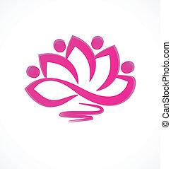 różowy, lotosowy kwiat, wektor, ikona
