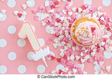 różowy, mały, lukier, cupcake
