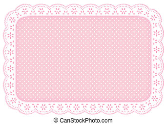 różowy, mata, polka, miejsce, serwetka, kropka, koronka