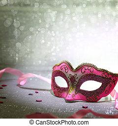 różowy, mięsopustna maska, z, błyszcząc, tło