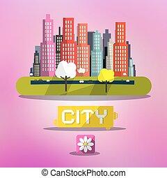 różowy, miasto, wiosna, abstrakcyjny, wektor, tło