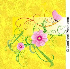 różowy, motyl, żółte tło, kwiaty, chorągiew