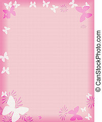 różowy, motyl, brzeg