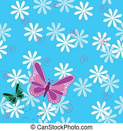 różowy, motyl, kwiaty, seamless