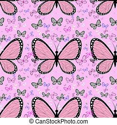 różowy, motyl, pastel, otoczony, wielobarwny, wielki, motyle, tło, mały