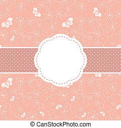 różowy, motyl, powitanie, wiosna, kwiatowy, karta